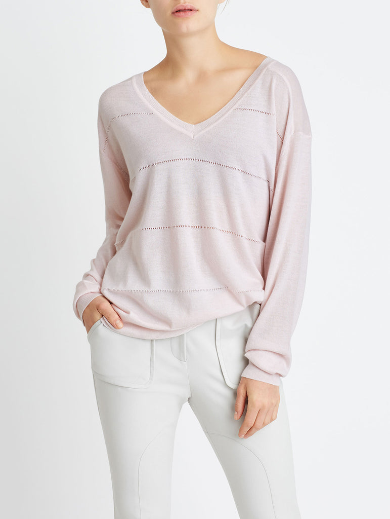 OVERSIZED POINTELLE V-NECK, LIGHT PINK