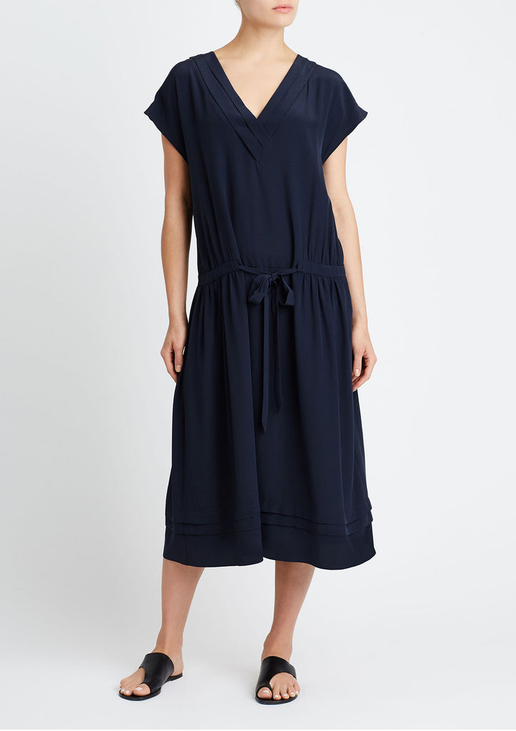 PLEATED V-NECK DRESS