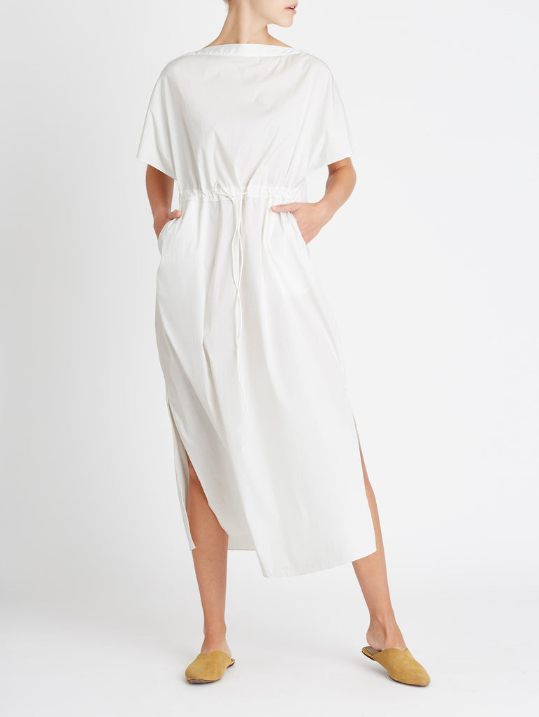 POPLIN TIE FRONT DRESS, WHITE