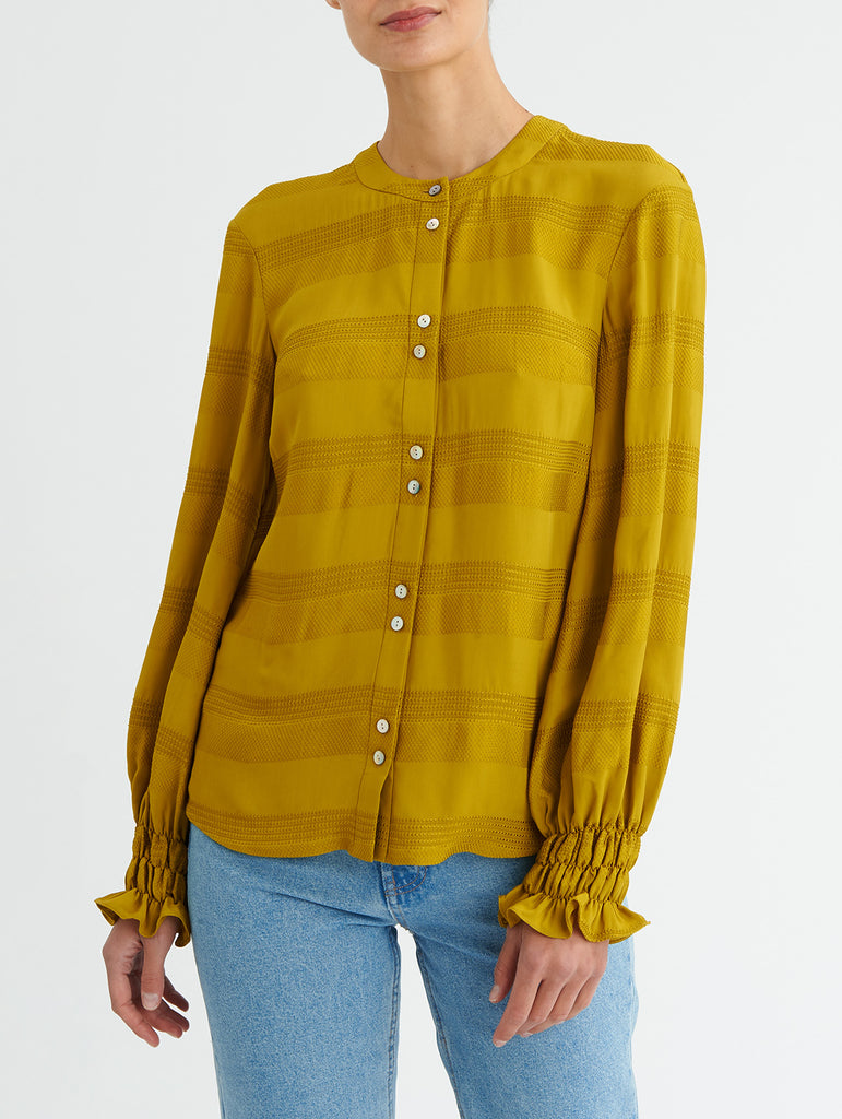 SHIRRED CUFF TOP, CHARTREUSE<br> PRE-ORDER