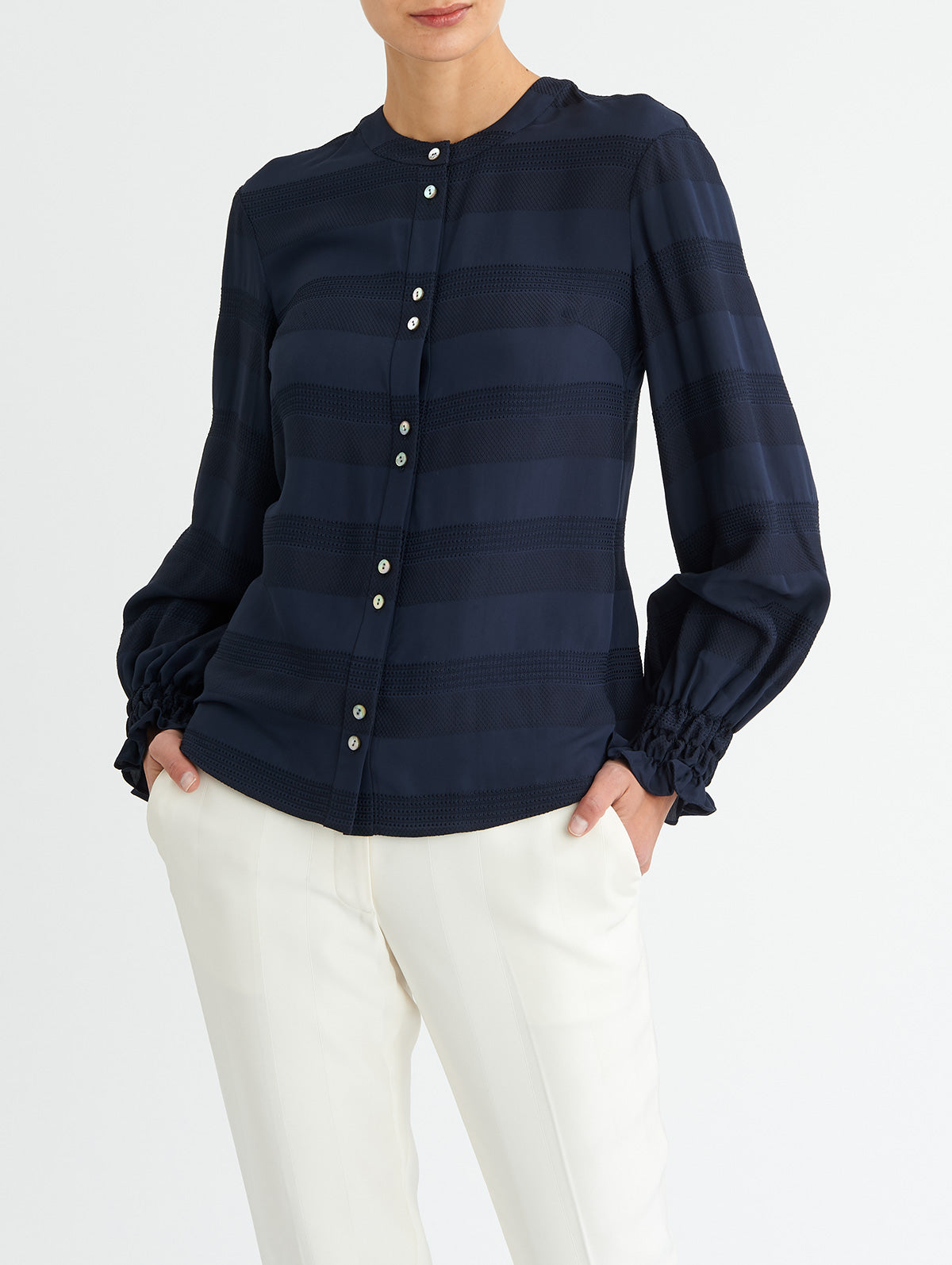 SHIRRED CUFF TOP, NAVY<br> PRE-ORDER