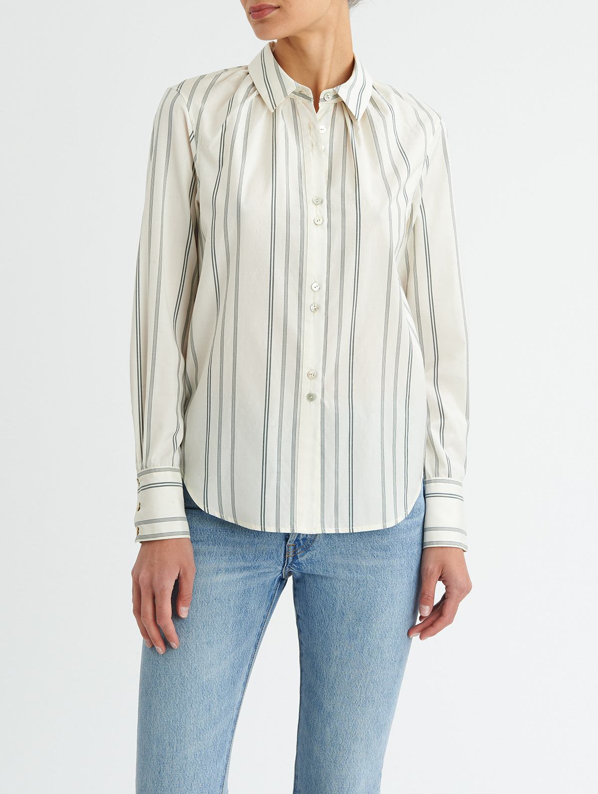 SHIRRED NECK BUTTON DOWN<br> PRE-ORDER