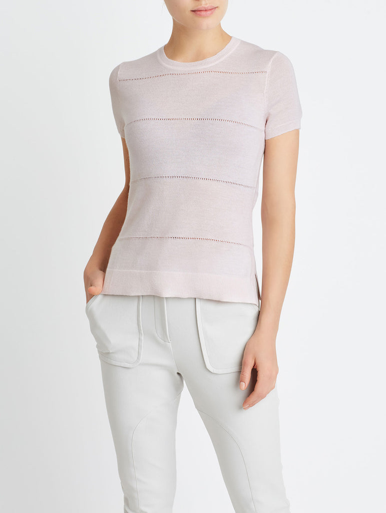 SIDE SLIT TEE, LIGHT PINK