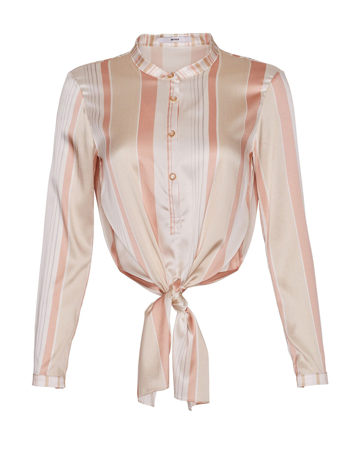 SILK STRIPE TIE FRONT BLOUSE