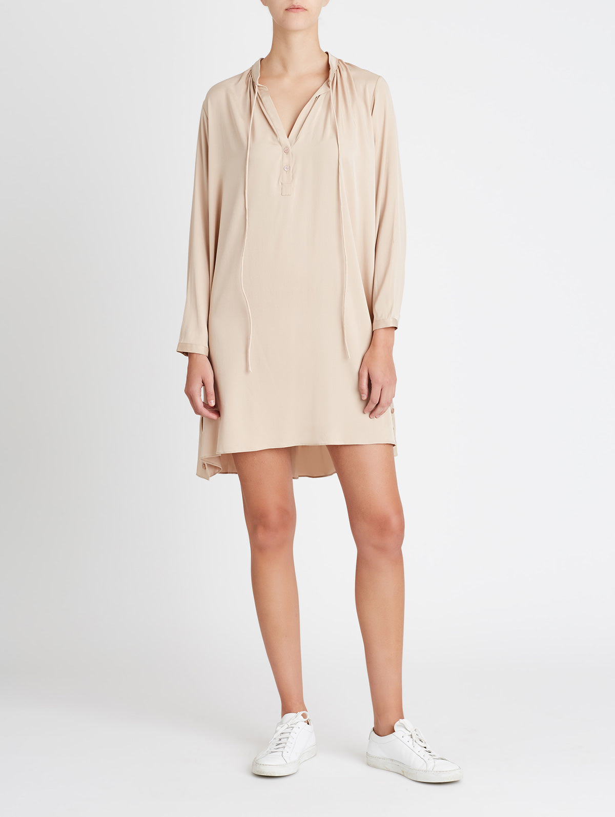 TIE NECK TUNIC DRESS