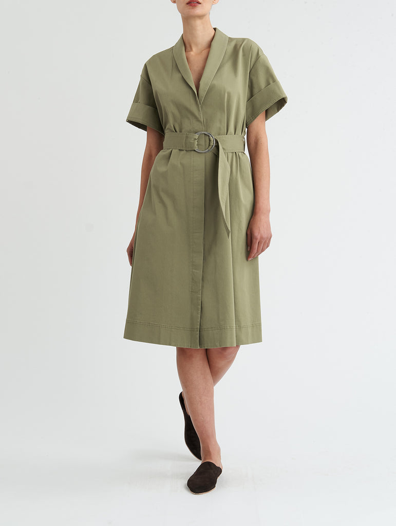 TIED WRAP DRESS, OLIVE