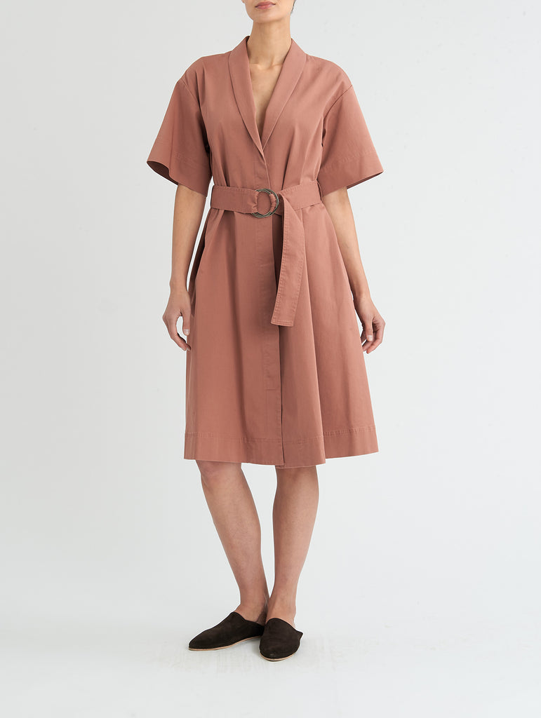 TIED WRAP DRESS, SALMON