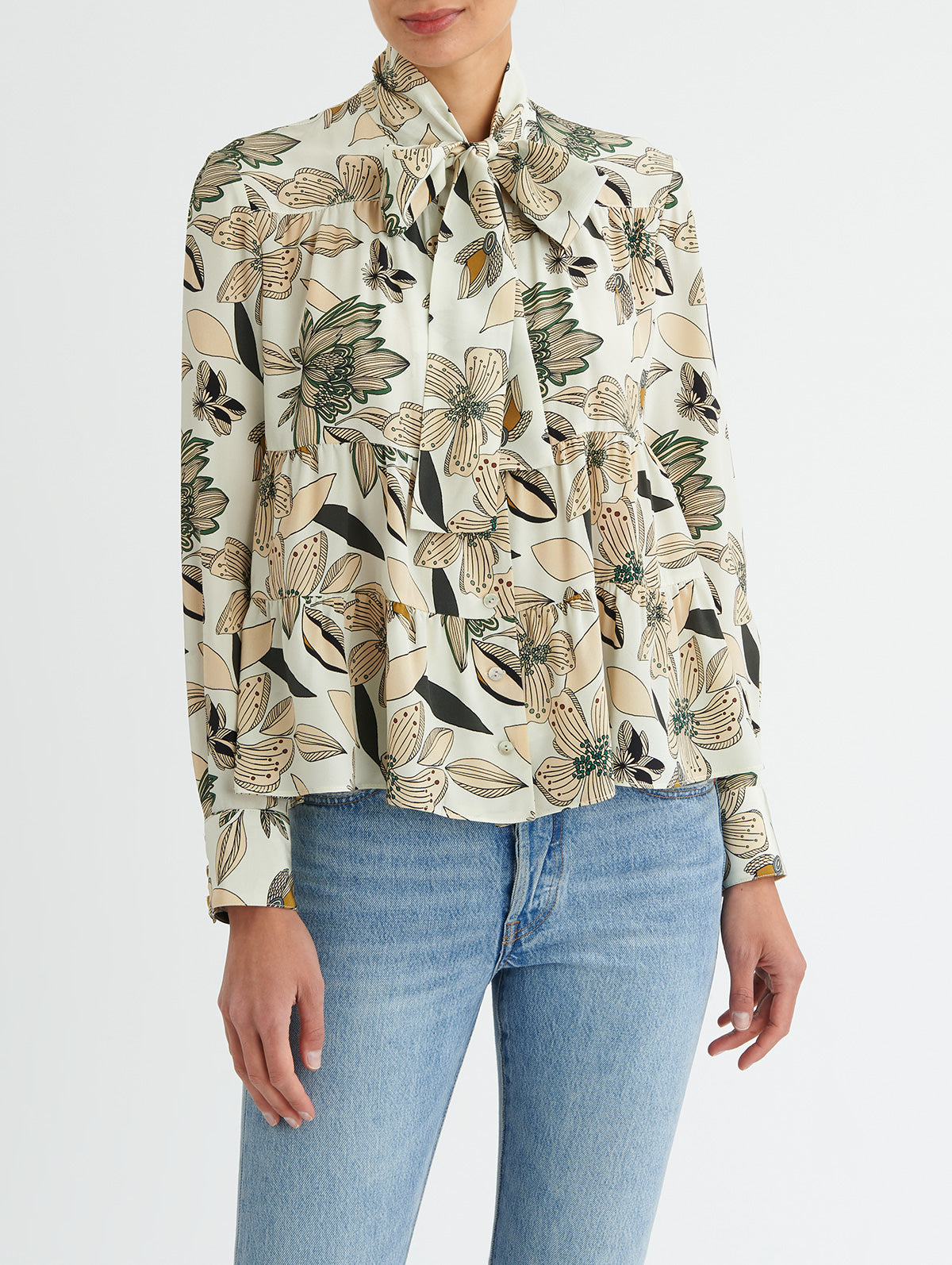 TIERED TIE BLOUSE, FLORAL PRINT<br> PRE-ORDER