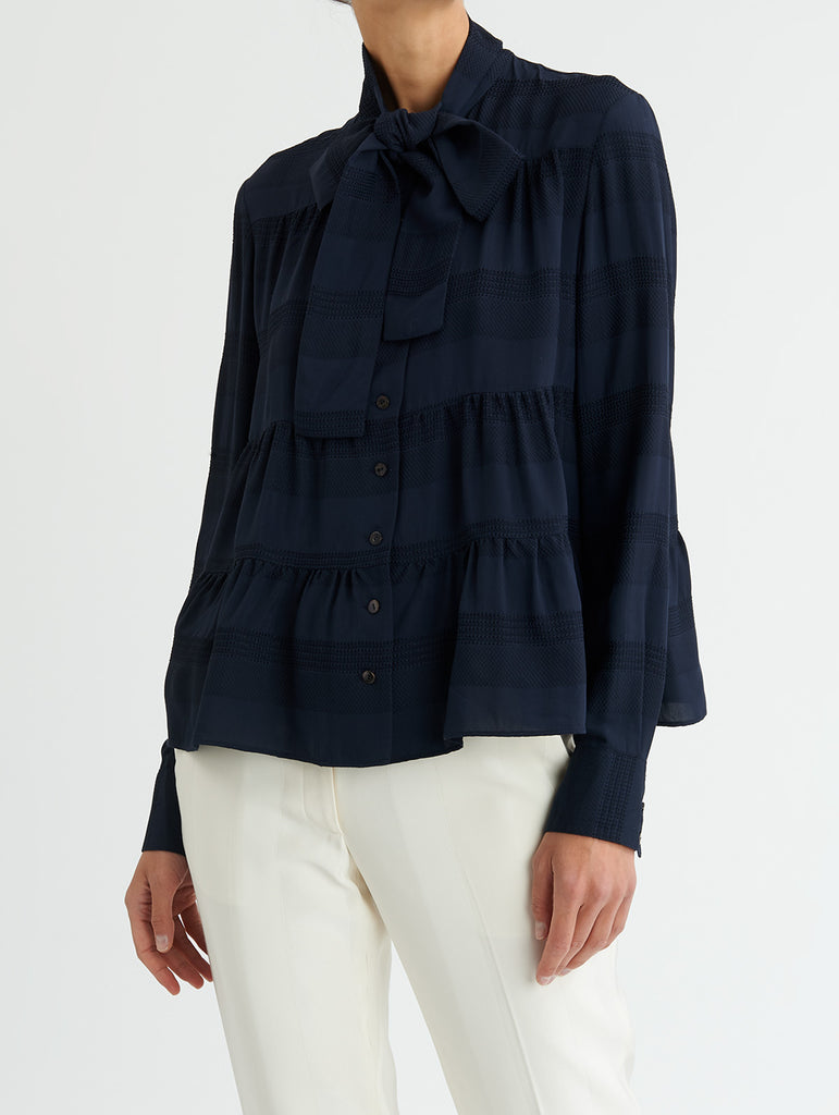 TIERED TIE BLOUSE, NAVY<br> PRE-ORDER