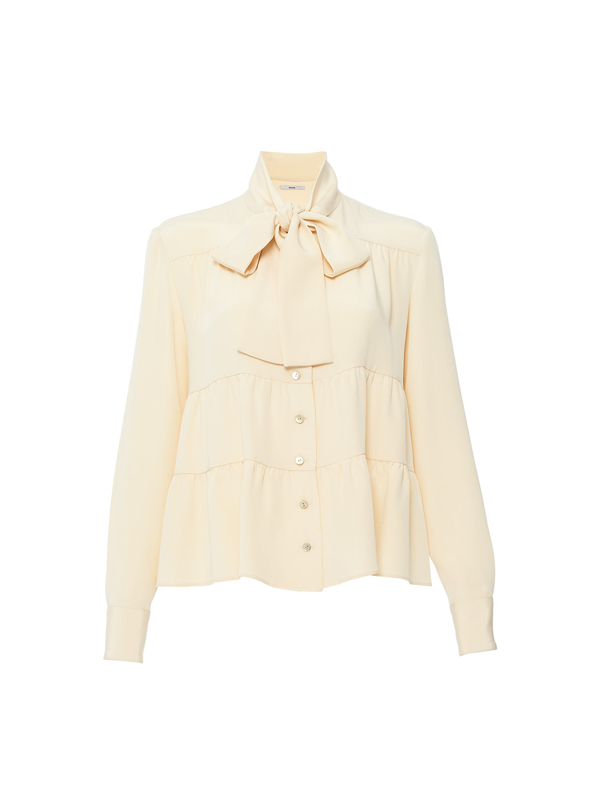 TIERED TIE BLOUSE, PEACHY IVORY<br> PRE-ORDER