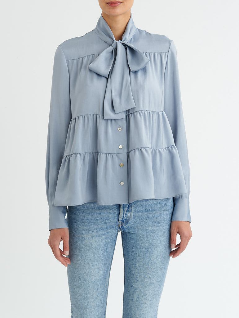 TIERED TIE BLOUSE, SKY BLUE<br> PRE-ORDER