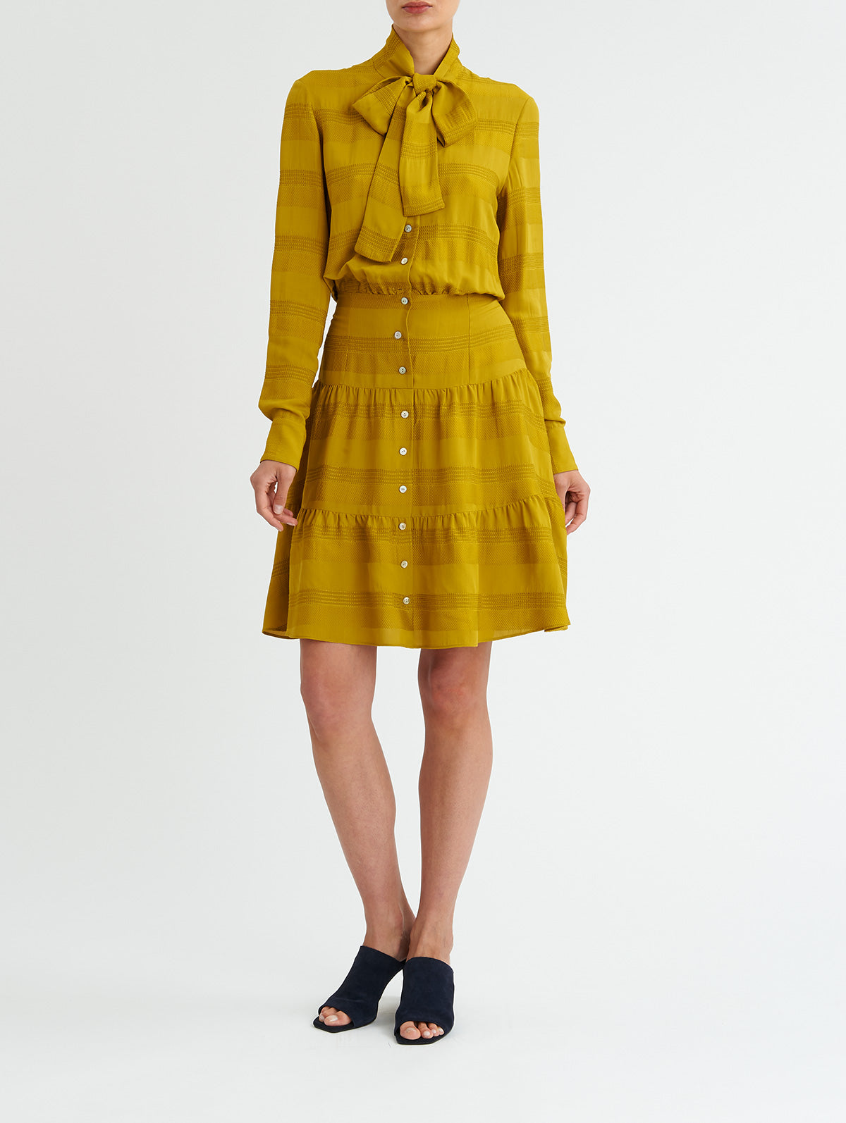 TIERED TIE DRESS, CHARTREUSE<br> PRE-ORDER