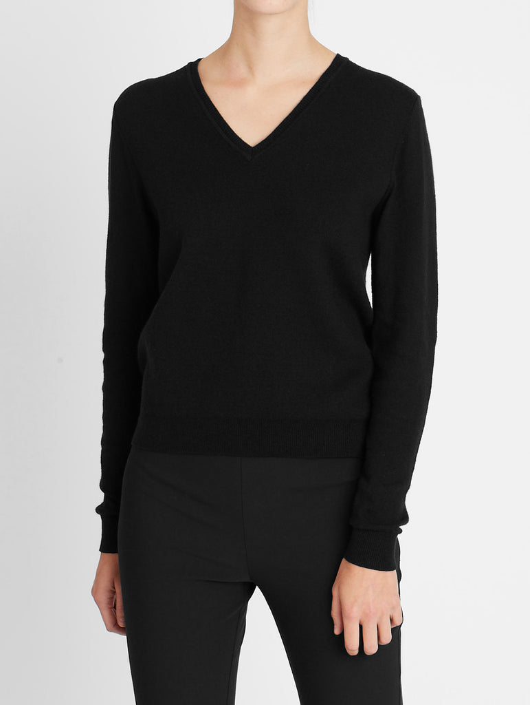 COTTON CASHMERE V-NECK, BLACK