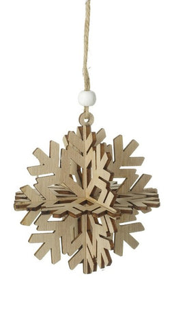 3D Wooden Snowflake Decoration