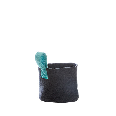 Small felted dark grey basket