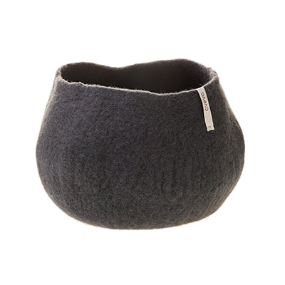 Large dark grey felted plant pot