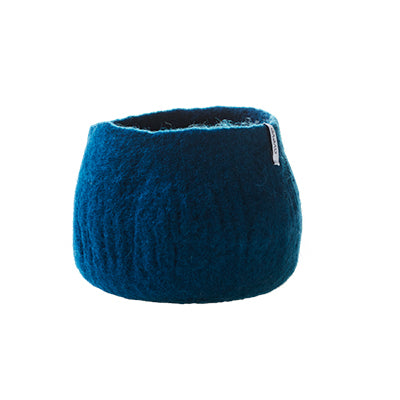 Medium felted petrol blue plant pot