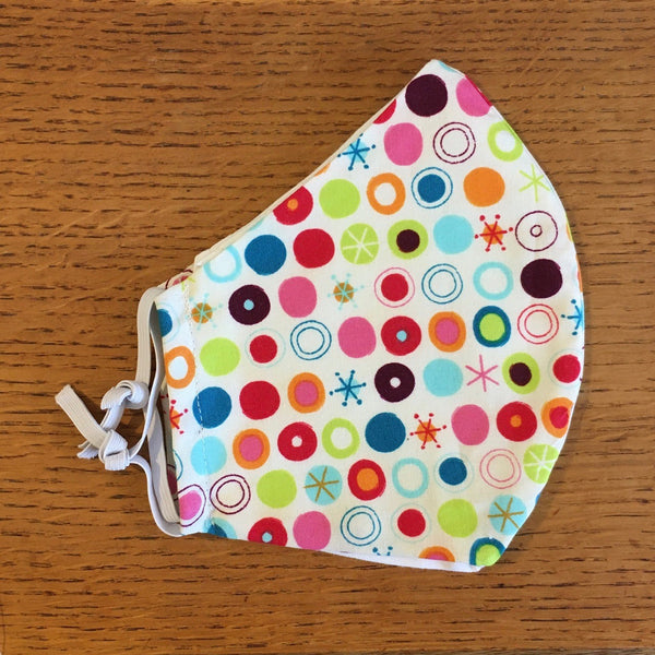 Multi Spot Printed Cotton Adjustable Face Covering / Face Mask (Non Medical)