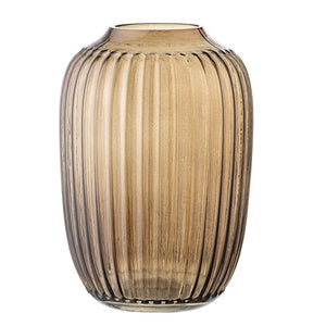 Brown glass vase with elegant ribbed design