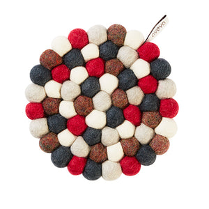 Round Red & Grey Kitchen Trivet
