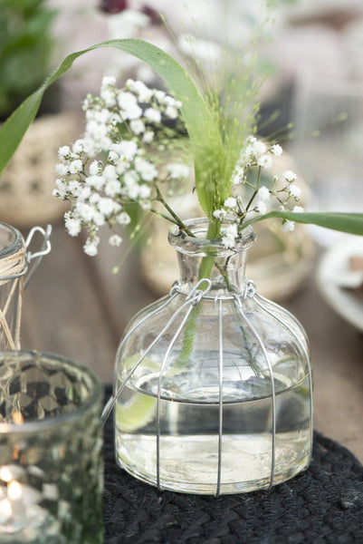Clear Glass Vase with Wire Casing