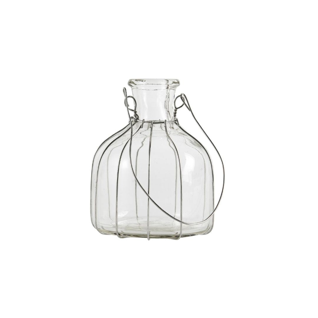 Clear Glass Vase / Candle Holder with Wire Casing