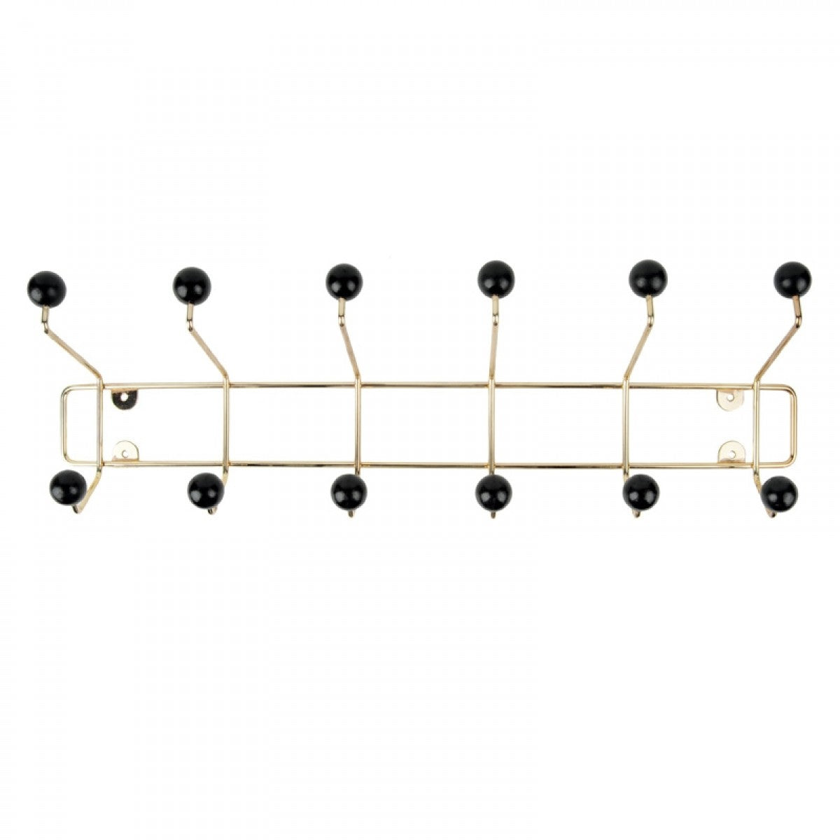 Wall hung coat rack with 12 hooks