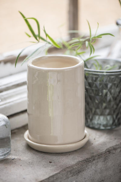 Cream Glaze Plant Pot with Saucer