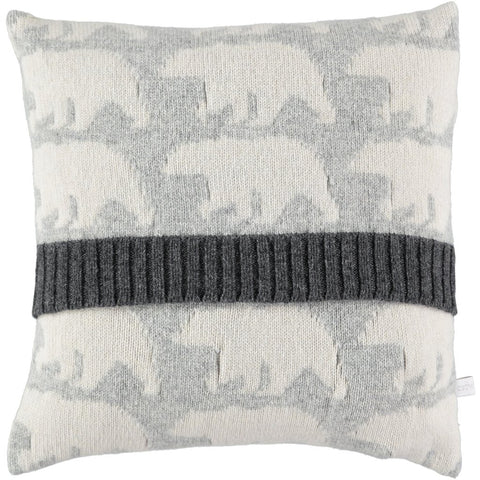 Polar bear knitted cushion