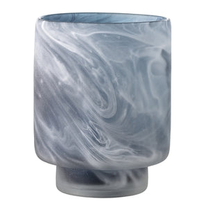 Dark blue and grey glass vase or hurricane lamp with a swirly pattern and frosted finish