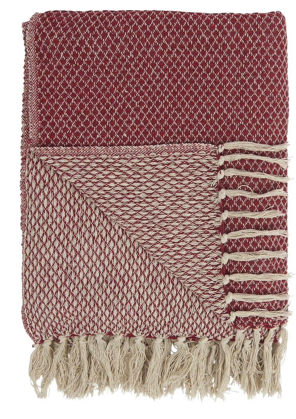 Red Woven Design Blanket