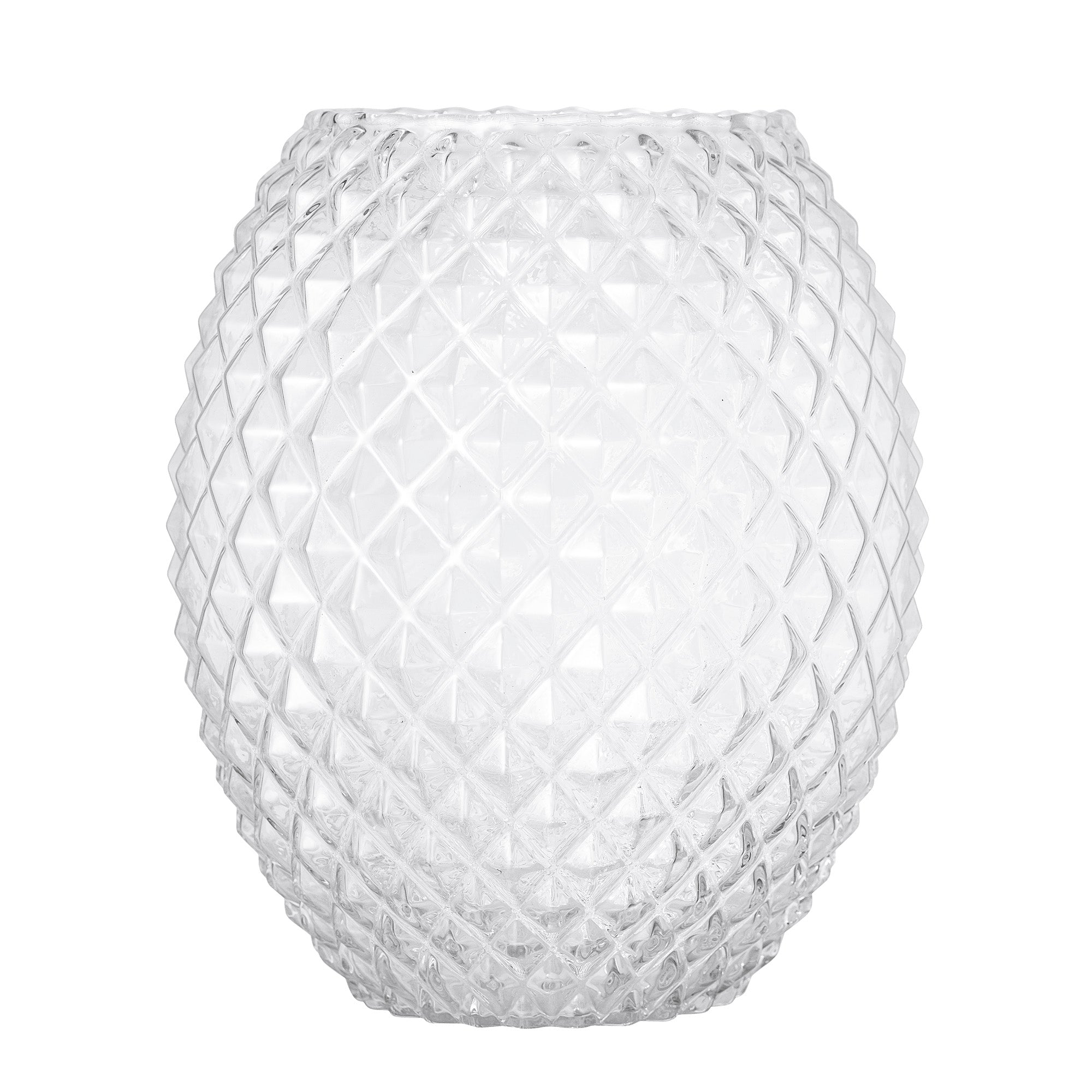 Oversized clear glass vase with diamond design textured pattern
