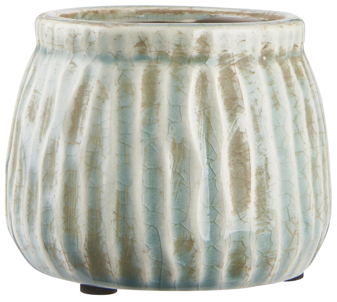 Green Ribbed Crackle Glaze Plant Pot