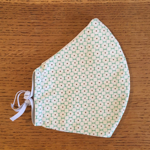 Green Geo Printed Cotton Adjustable Face Covering / Face Mask (Non Medical)