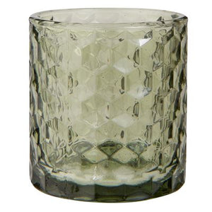 Green glass tealight candle holder
