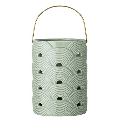 Green Patterned Ceramic Lantern