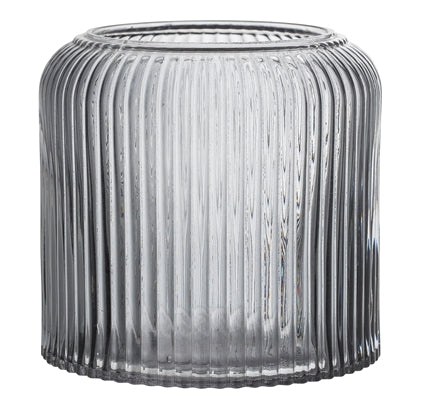 Grey ribbed design glass vase
