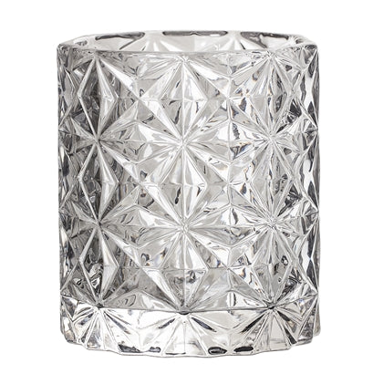 Grey glass tealight candle holder
