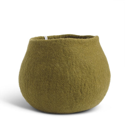 Large Olive Green Felted Wool Plant Pot