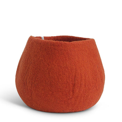 Large Felted Wool Rust Plant Pot