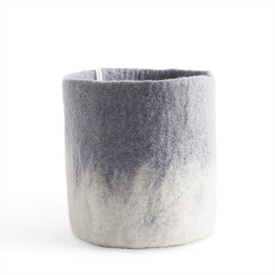 Large Concrete Grey Ombre Felted Wool Plant Pot