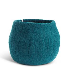 Large Felted Wool Teal Plant Pot