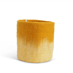 Large Mustard Yellow Ombre Felted Wool Plant Pot