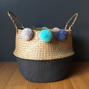 Large Pom Pom Belly Basket with Grey Bottom