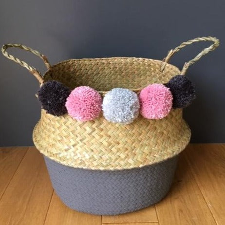 Large Pom Pom Belly Basket with Grey Bottom & Pink Pom Pom's