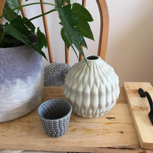 Light Blue Textured Conical Vase