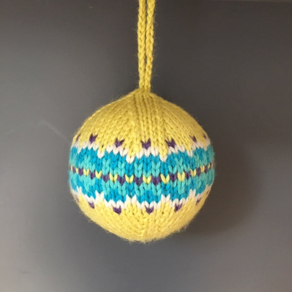 Knitted Christmas Decoration, Lime Fairisle - Made to Order