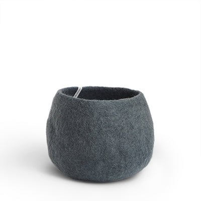 Medium Dark Grey Felted Wool Plant Pot