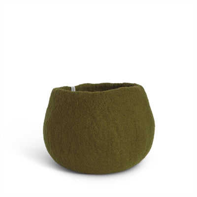 Medium Olive Green Felted Wool Plant Pot