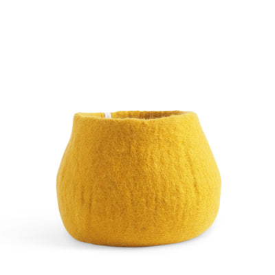 Medium Mustard Felted Wool Plant Pot